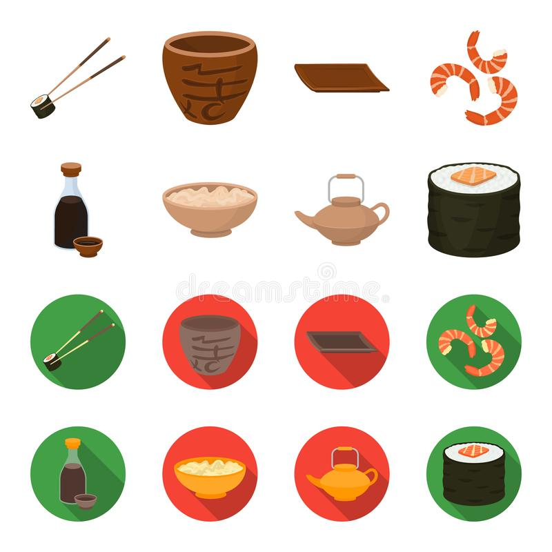 Sojasoße, Nudeln, Kessel rollen Gesetzte Sammlungsikonen der Sushi in der Karikatur, flaches Artvektorsymbolvorrat-Illustrationsn vektor abbildung