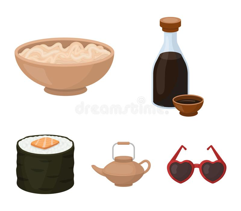 Sojasoße, Nudeln, Kessel rollen Vector gesetzte Sammlungsikonen der Sushi in der Karikaturart Illustrationsnetz des Symbols auf L stock abbildung
