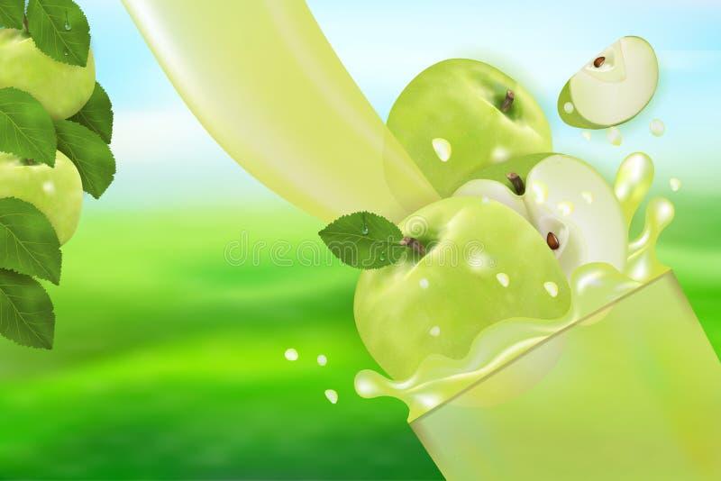 Sok Apple z pluśnięciem Przepływ ciecz z kroplami, słodką owoc 3d realistyczną wektorową ilustracja, pakunku projekt i plakat, royalty ilustracja
