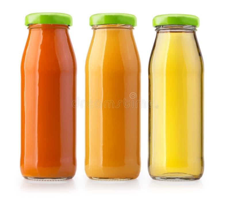 Sok pomarańczowy butelki odizolowywać fotografia stock