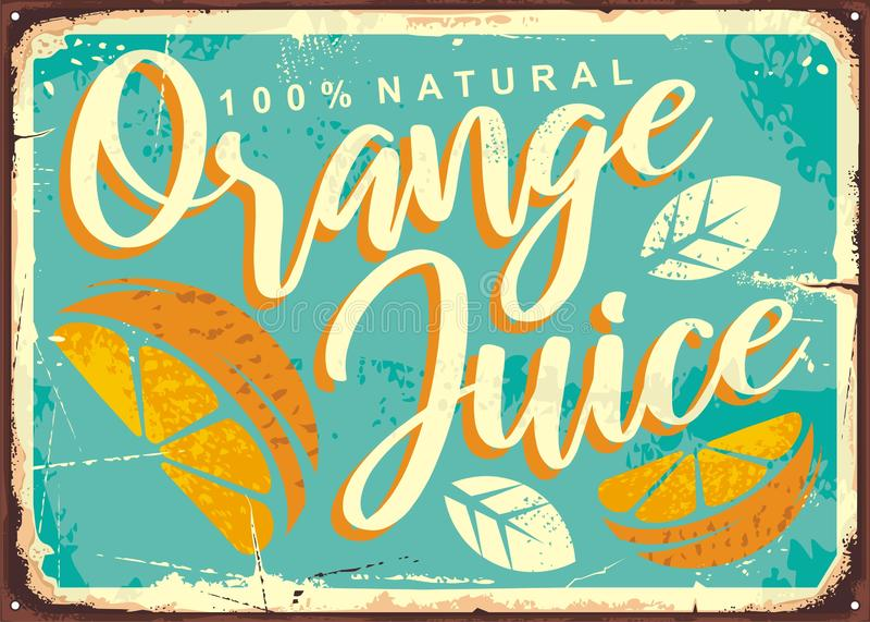 Sok pomarańczowy cyny retro znak royalty ilustracja