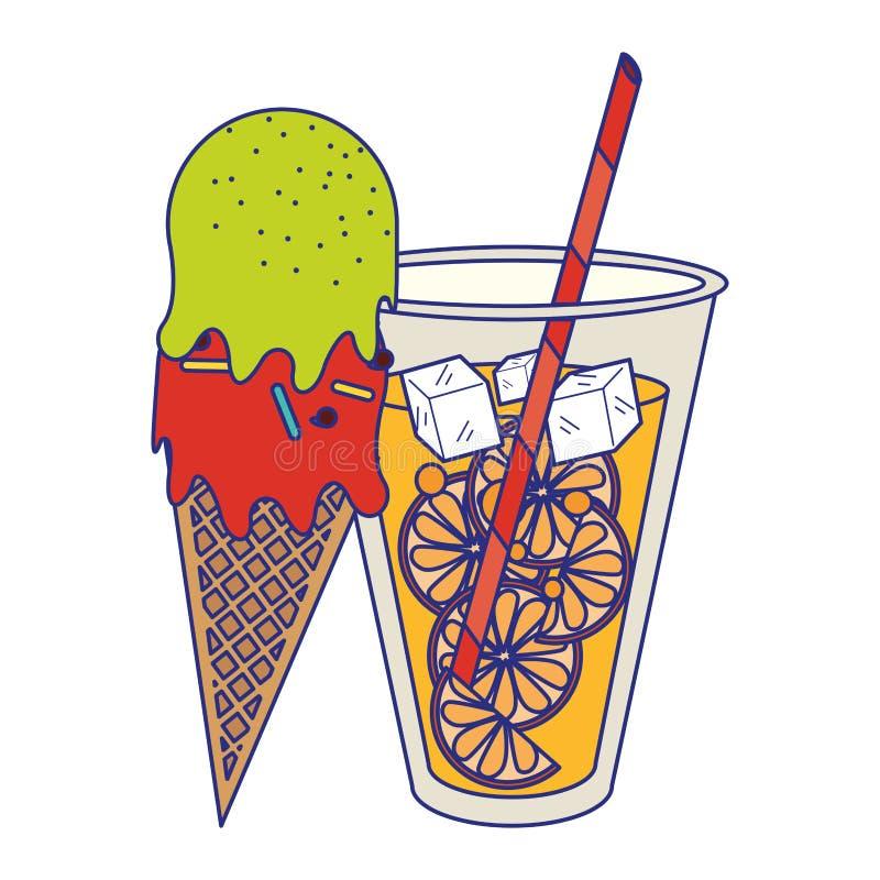 Sok pomarańczowy filiżanka i lody szyszkowa kreskówka ilustracji