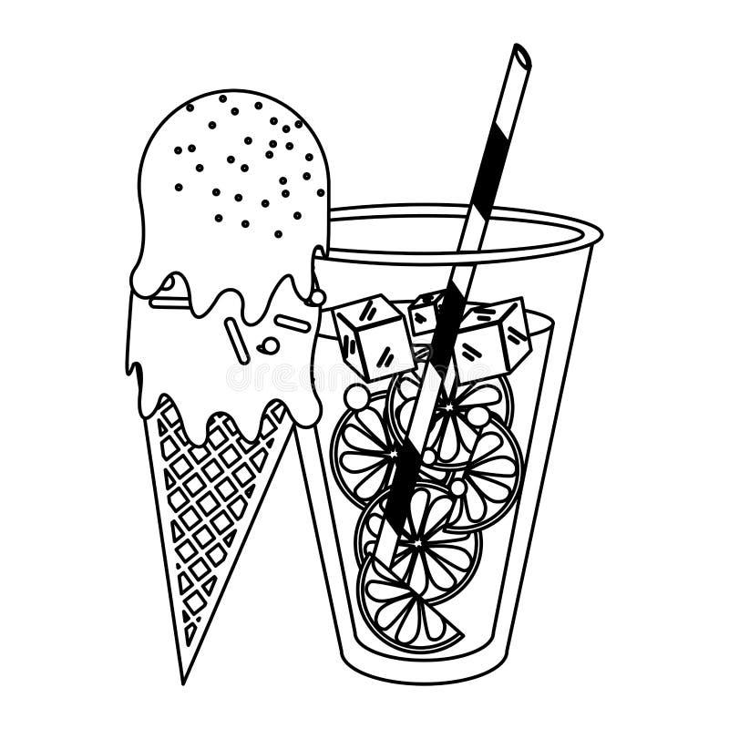 Sok pomarańczowy filiżanka i lody szyszkowa kreskówka w czarny i biały ilustracja wektor