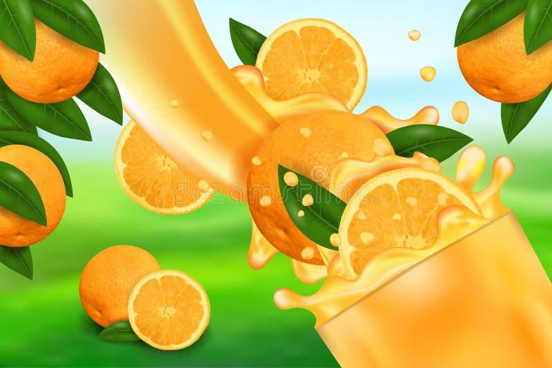 Sok pomarańczowy i pluśnięcie Przepływ ciecz z kroplami, słodką owoc 3d realistyczną wektorową ilustracja, pakunku projekt i plak ilustracji
