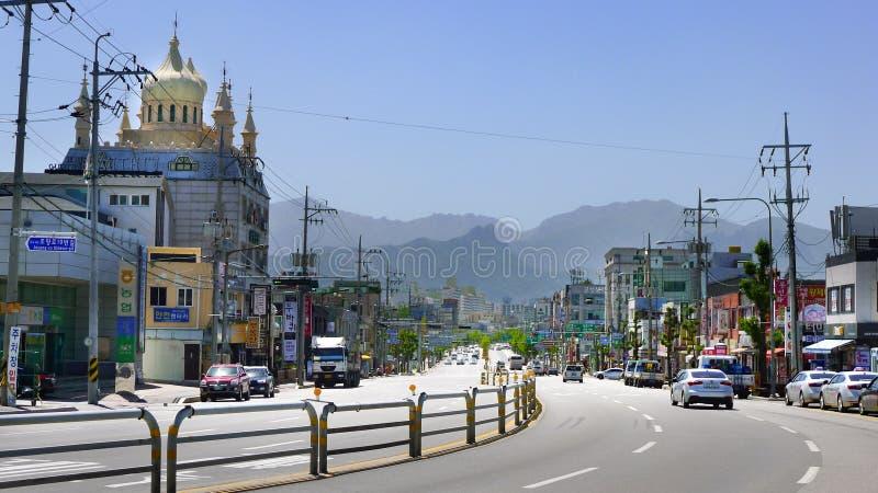Sokcho/södra Korea-23 05 2018: Fotoet av den Sokcho staden royaltyfri bild