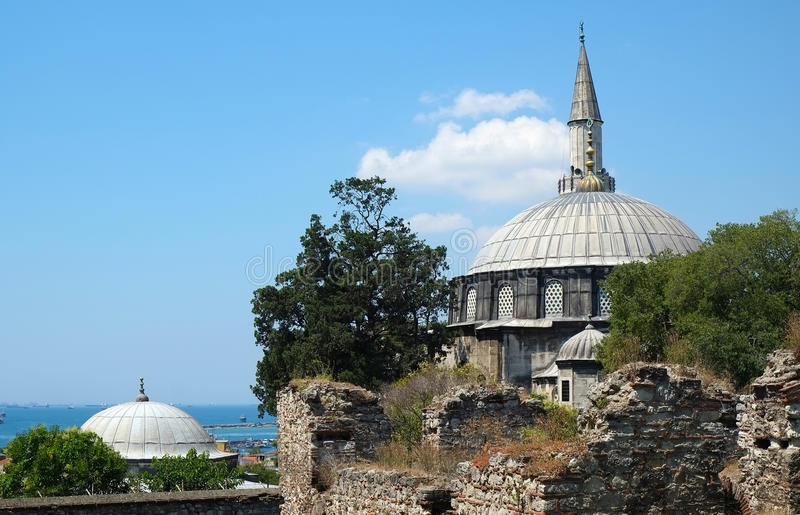 The Sokollu Mehmet Pasha Mosque, Istanbul, Turkey. The view of the Sokollu Mehmet Pasha Mosque and Marmara sea on the background. It is an Ottoman mosque located stock images