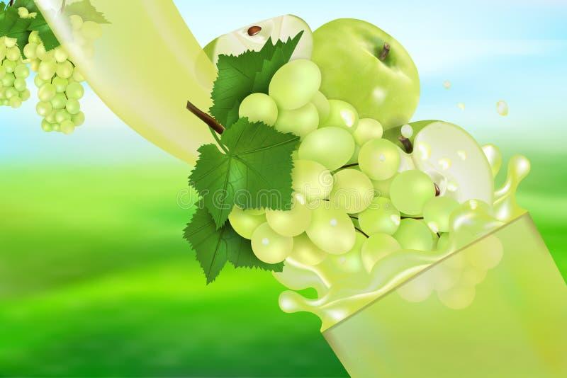 Soku Apple z pluśnięciem i winogrono Przepływ ciecz z kroplami i słodką owoc 3d realistyczną wektorową ilustracją, pakunku projek ilustracja wektor