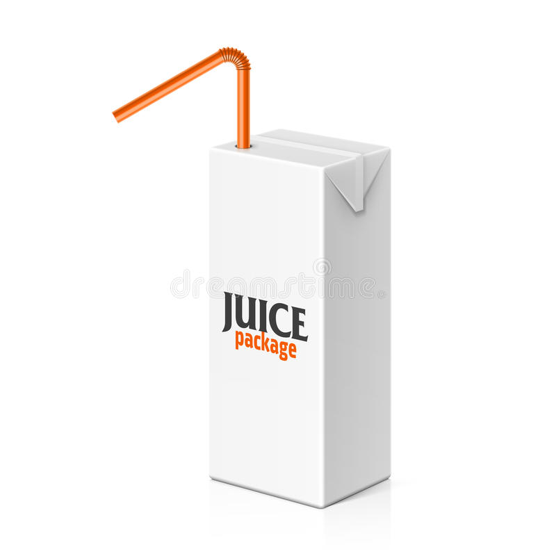Soku lub mleka pudełko z pić słomę ilustracji