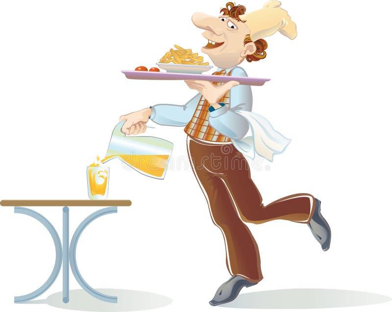 soku pomarańcze kelner ilustracji