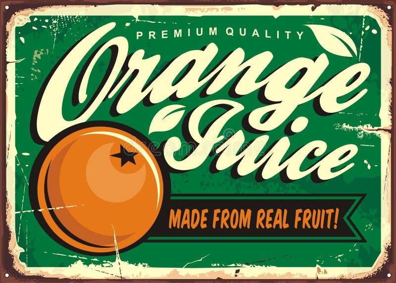 Soku pomarańczowego rocznika cyny znak ilustracja wektor