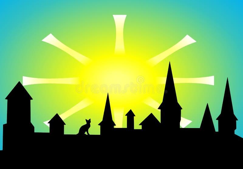 Sol över den gamla fästningen vektor illustrationer