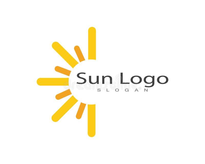 Sol över vektor för horisontlogo- och symbolmall royaltyfri illustrationer
