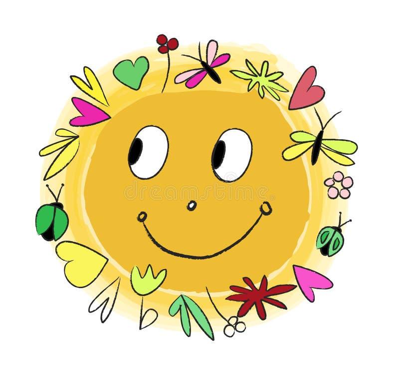 Sol alegre de Vecter ilustração royalty free