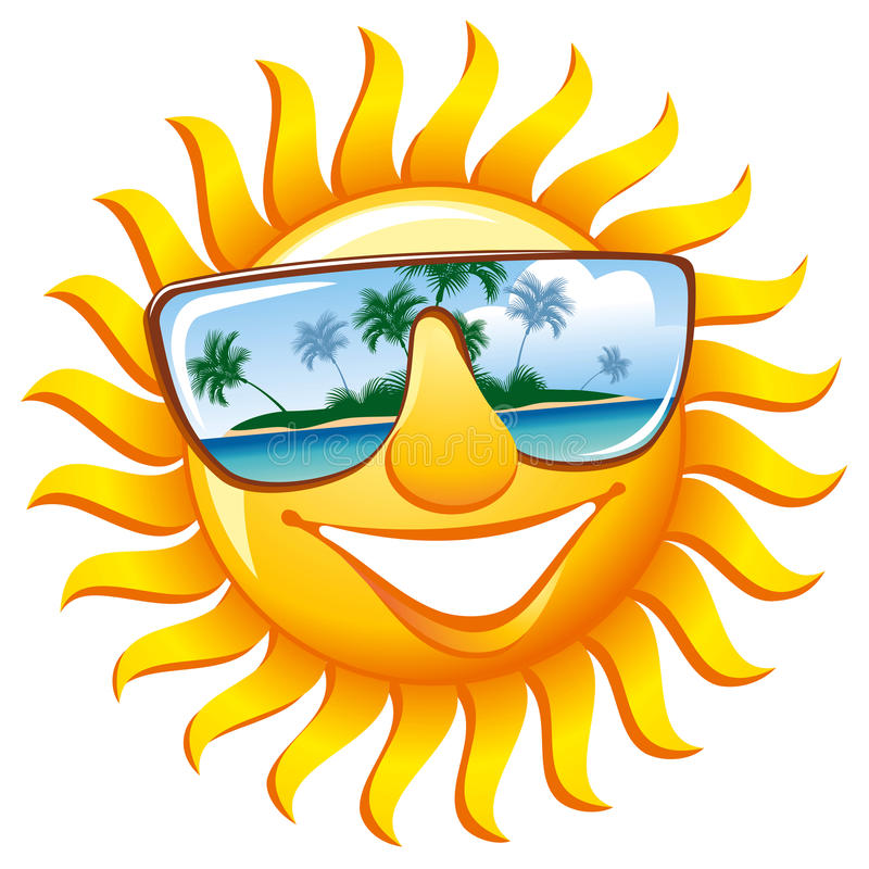 Sol alegre en gafas de sol stock de ilustración