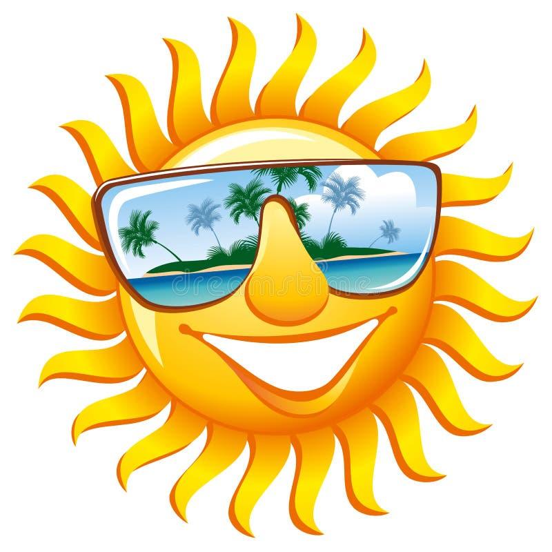 Sol alegre nos óculos de sol ilustração stock