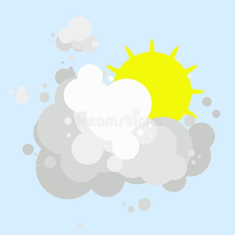 Sol amarillo con los rayos cortos ocultados detrás de las nubes grises blancas, día nublado stock de ilustración