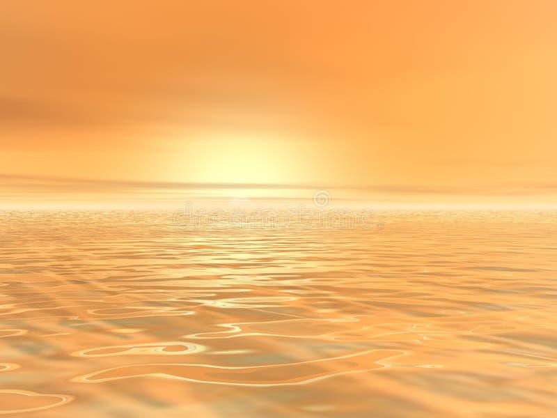 Sol amarillo en la niebla ilustración del vector