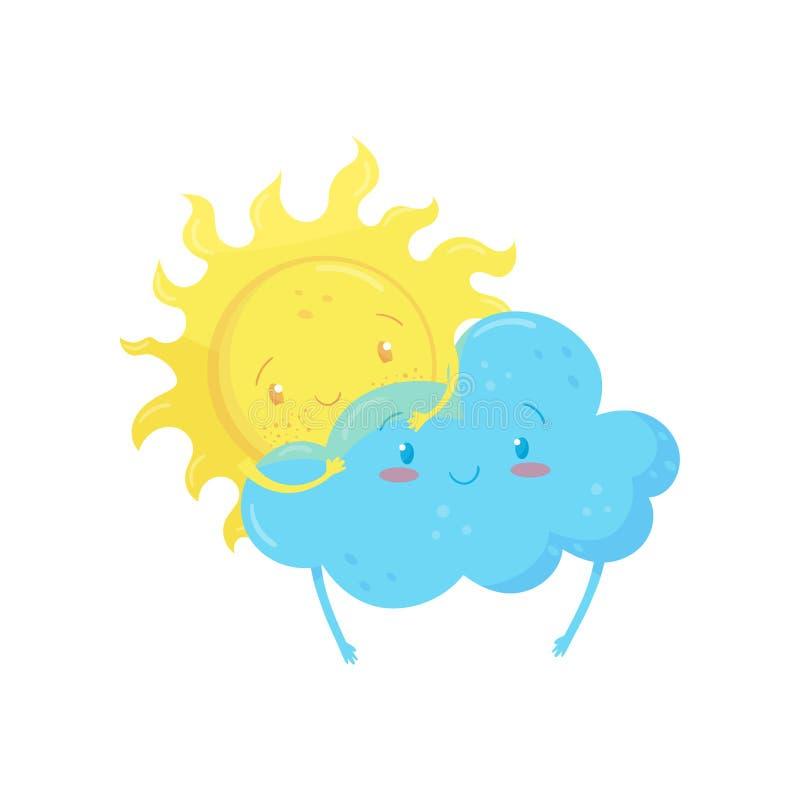 Sol amarillo sonriente detrás de la nube azul adorable Caracteres divertidos del tiempo Elemento plano del vector de la historiet stock de ilustración