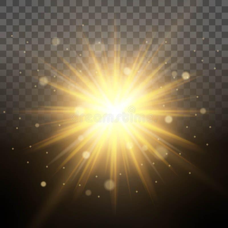 Sol- belysningsimulering av gryning, upplysta glänsande strålar, genomskinlig bakgrund för linseffektglöd Lätt att ändra backgen stock illustrationer