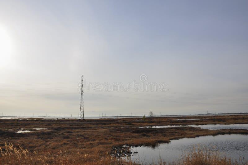 Sol blanco en el cielo frío del otoño sobre los ríos y los lagos travelling tundra foto de archivo