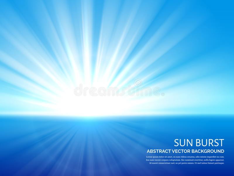 Sol blanco estallado en cielo azul Luz del sol abstracta que estalla el fondo del vector del efecto ilustración del vector