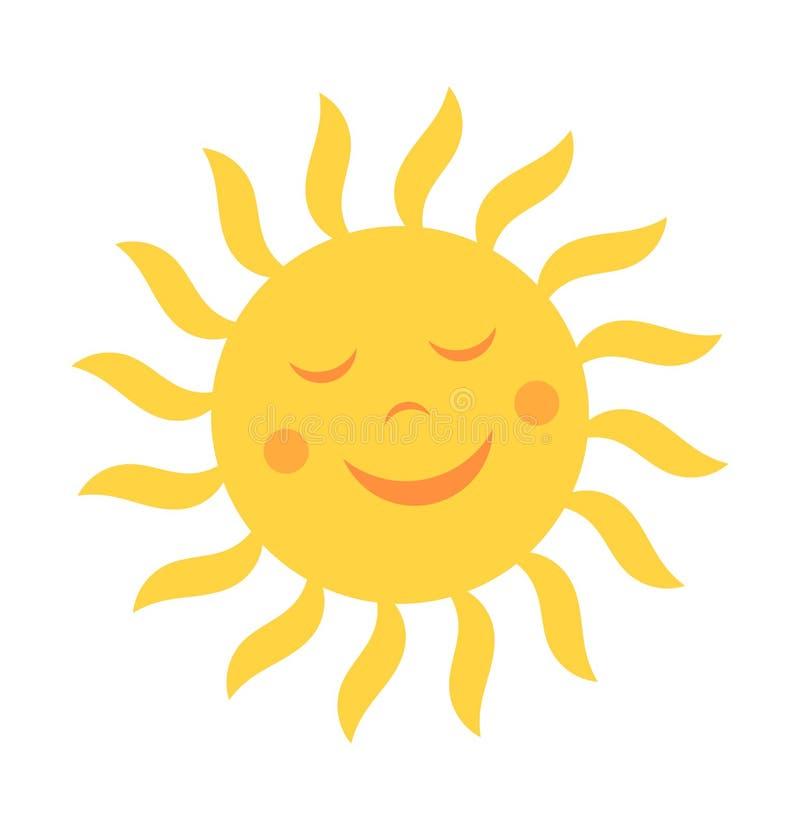 Sol bonito com sorriso ilustração royalty free