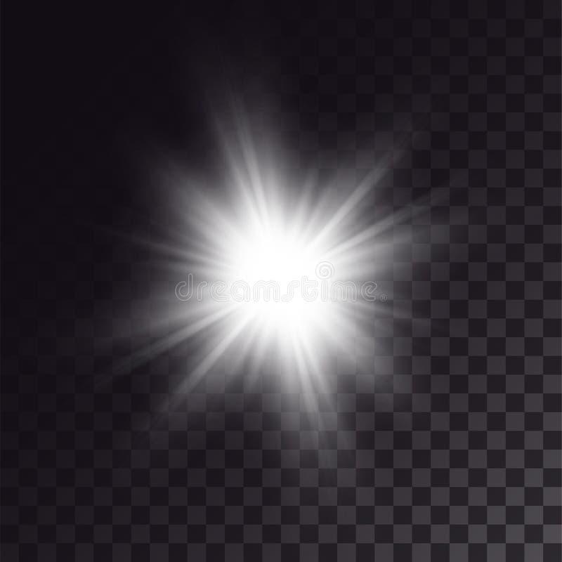 Sol branco que brilha brilhantemente ilustração royalty free