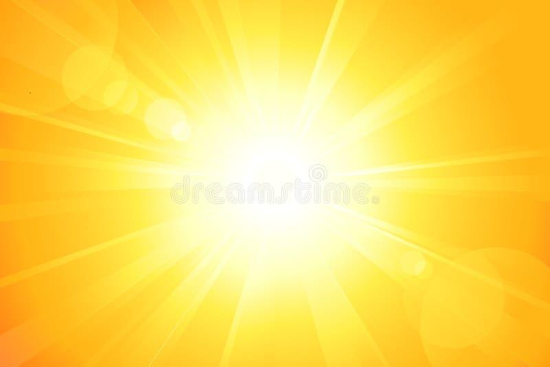 Sol brilhante com alargamento da lente ilustração royalty free