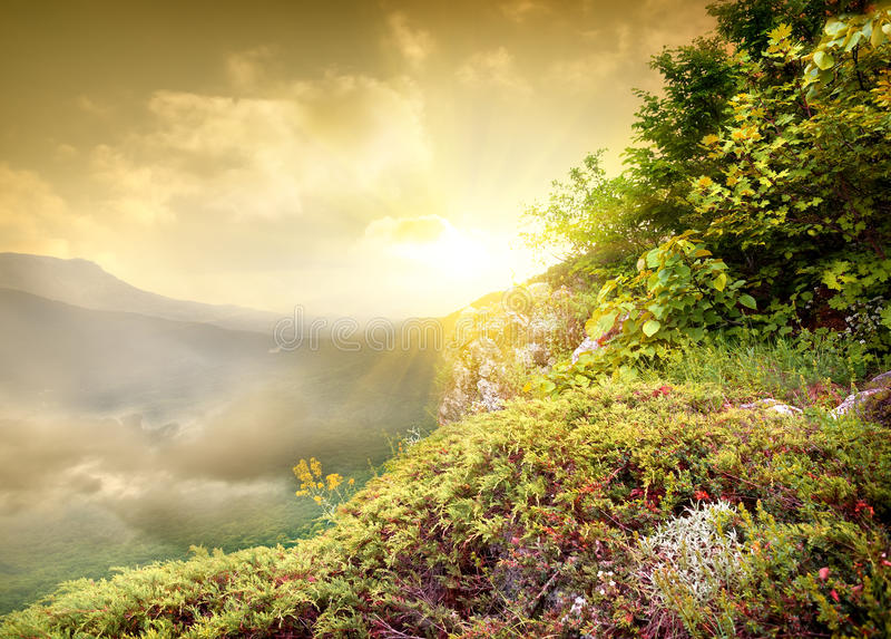 Sol brilhante nas montanhas imagens de stock