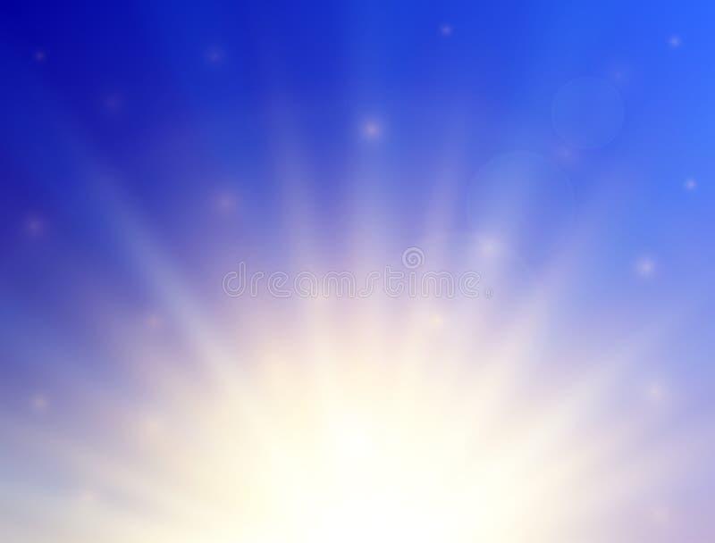 Sol brillante con la llamarada de la lente Fondo del verano Ilustración del vector ilustración del vector