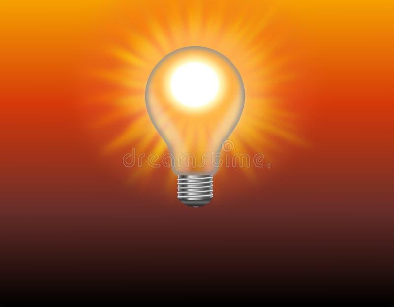 Sol brillante en la bombilla stock de ilustración