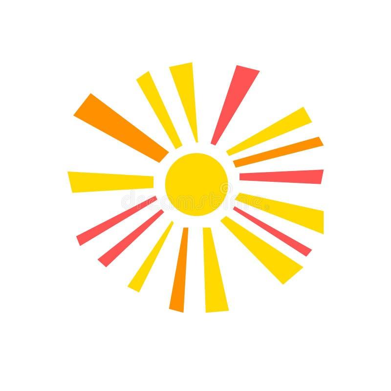 Sol brillante geométrico simple colorido con el símbolo de los rayos de sol, vector ilustración del vector