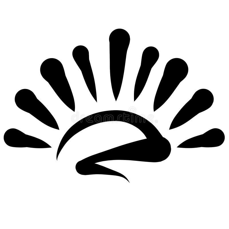 Sol brillante, modelo negro, salida del sol o puesta del sol stock de ilustración