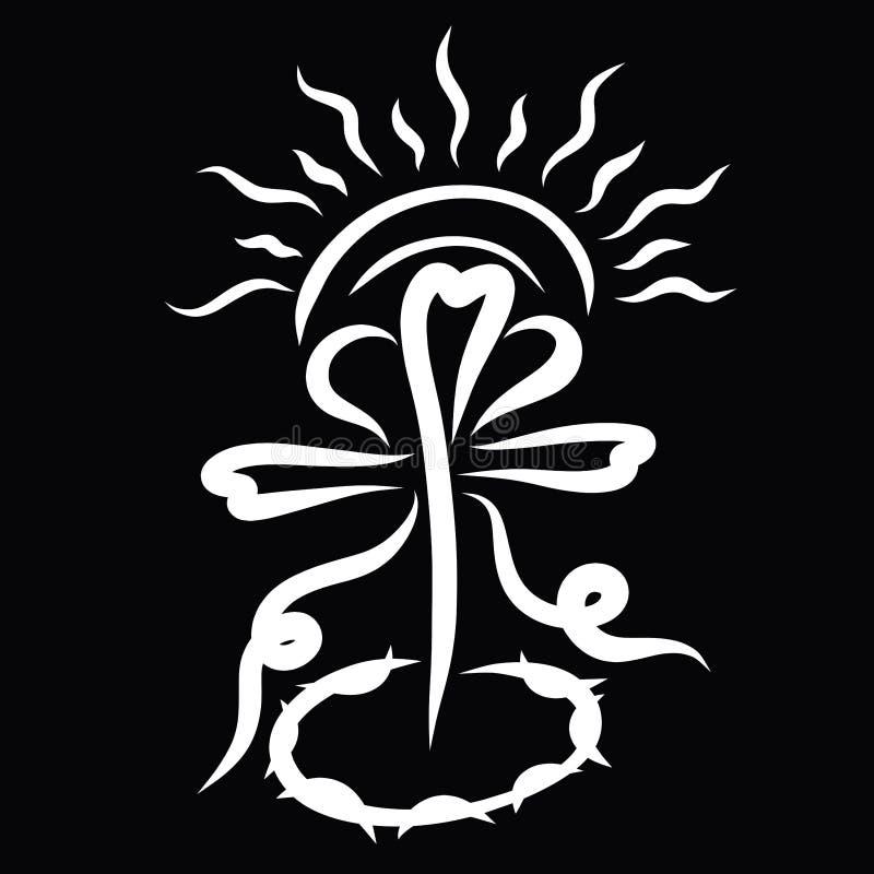 Sol brillante sobre una cruz con un corazón y una corona de espinas stock de ilustración