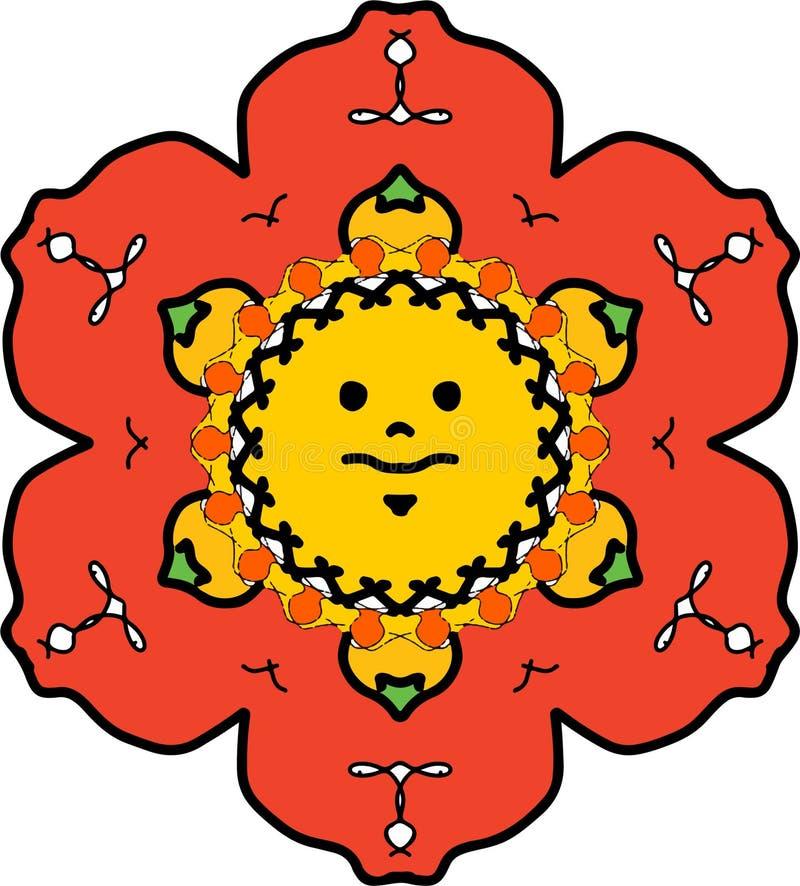 Sol brincalhão cercado pela flor delicada da pétala do rubi ilustração royalty free