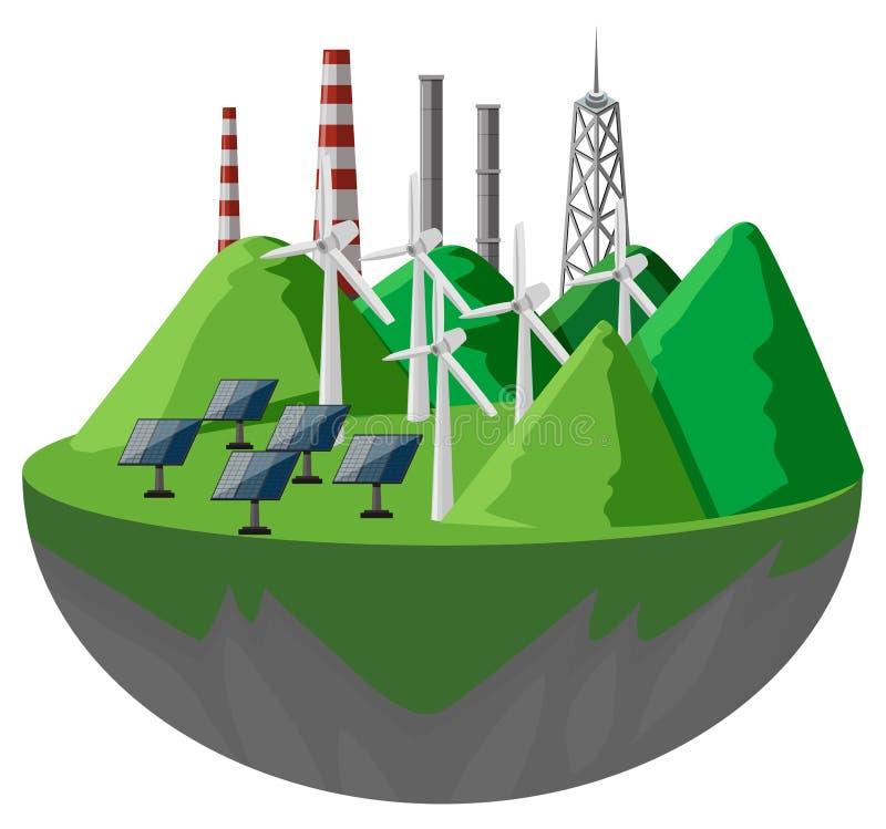 Sol- celler och turbiner i bergen royaltyfri illustrationer