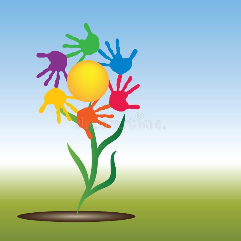 Sol conceptual com a flor do círculo da cópia da mão das crianças ilustração royalty free