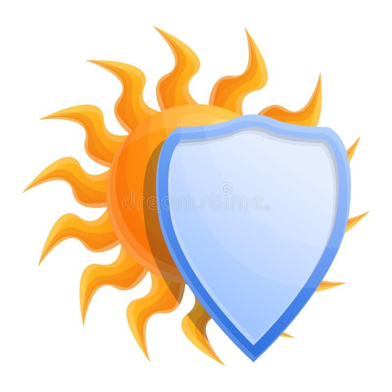 Sol cosmético proteger el icono del escudo, estilo de la historieta ilustración del vector