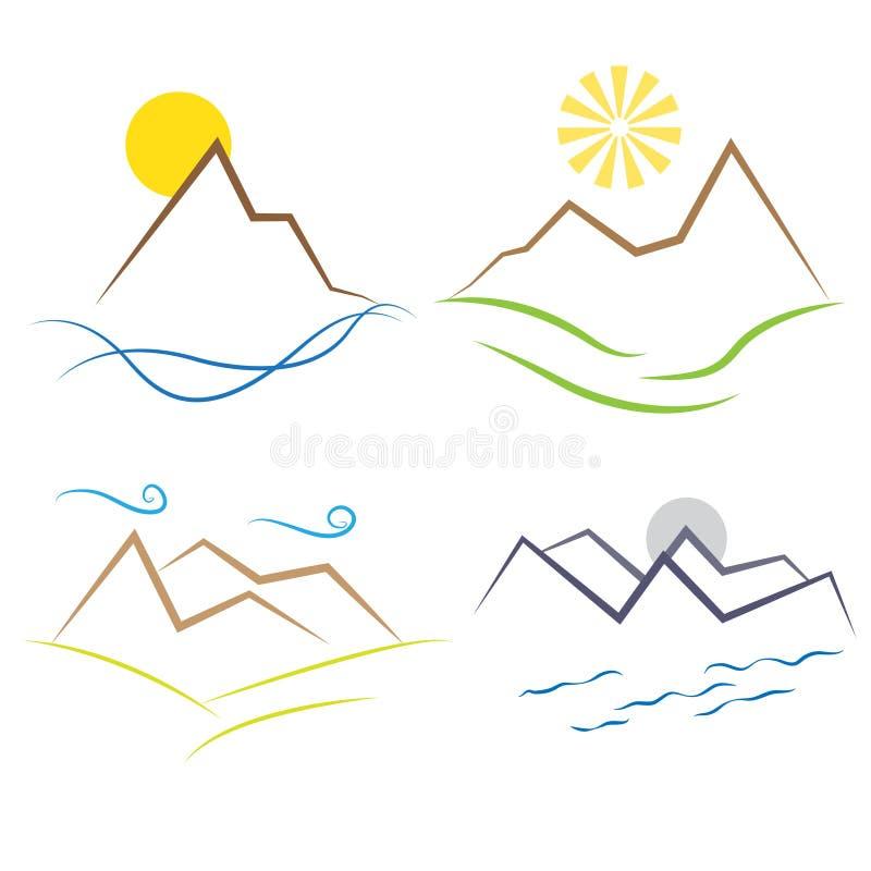 Sol da água do ar da terra da paisagem das montanhas ilustração stock