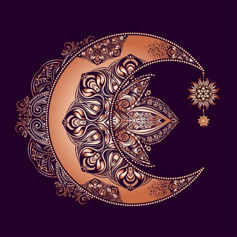 Sol da lua da alquimia ilustração royalty free