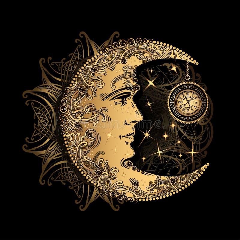 Sol da lua da alquimia ilustração do vetor
