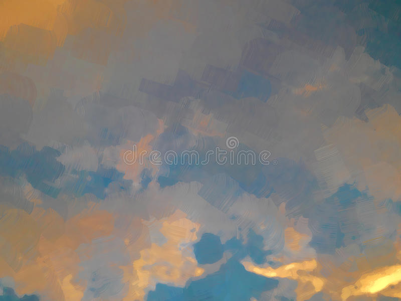 Sol da pintura a óleo que ajusta o céu alaranjado com nuvens ilustração do vetor