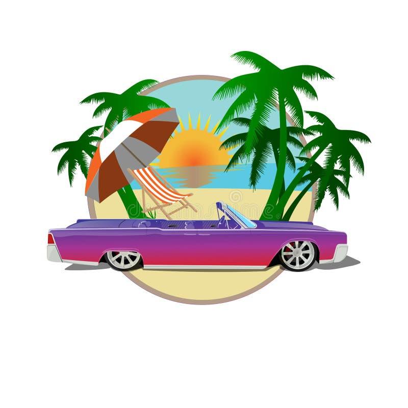 sol da praia das palmas de cadillac do carro ilustração royalty free