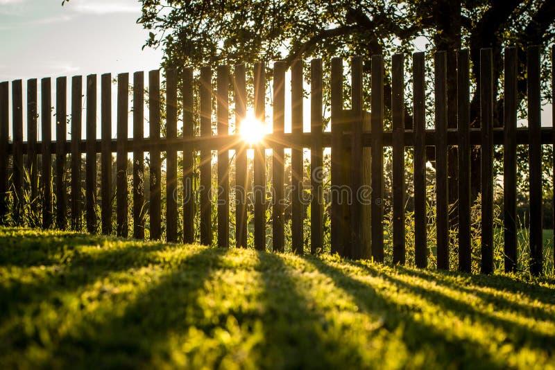 sol de ajuste atrás de uma cerca imagens de stock royalty free