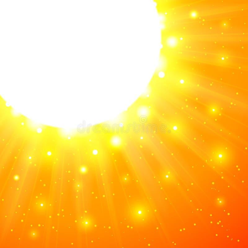 Sol De Brilho Alaranjado Do Vetor Com Alargamentos Fotos de Stock Royalty Free