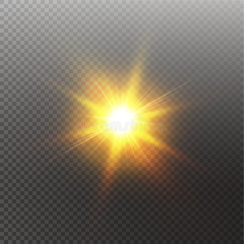 Sol de brilho brilhante isolado no fundo preto Efeito da luz do fulgor Ilustra??o do vetor ilustração do vetor