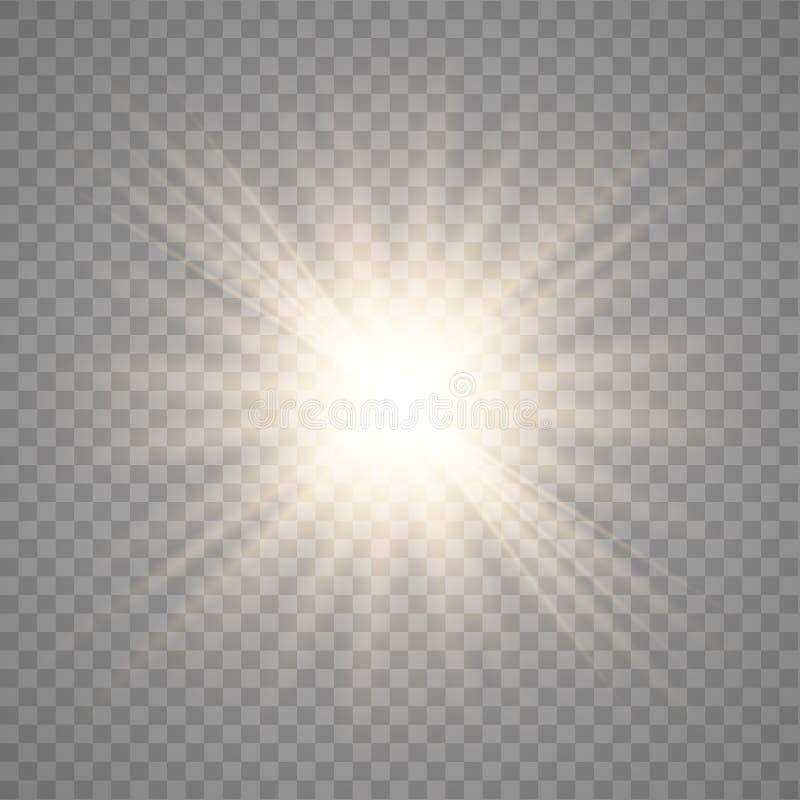 Sol de brilho dourado do vetor ilustração do vetor
