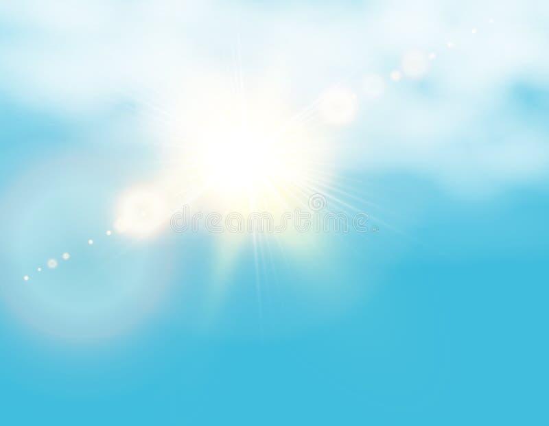 Sol de brilho realístico com alargamento da lente Céu azul com fundo das nuvens Ilustração do vetor ilustração do vetor
