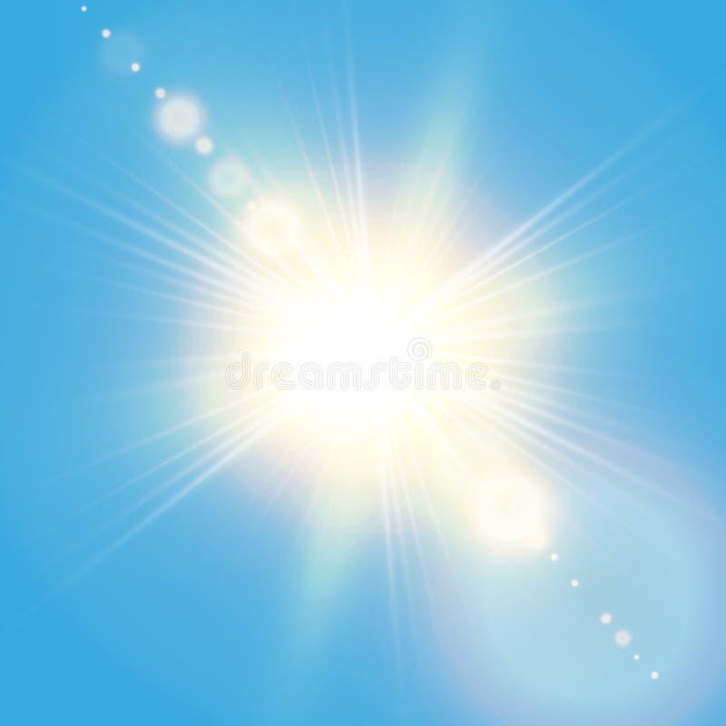 Sol de brilho realístico com alargamento da lente Céu azul com fundo das nuvens Ilustração do vetor ilustração stock