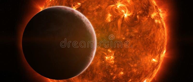 Sol de explosão no espaço perto da terra do planeta ilustração royalty free
